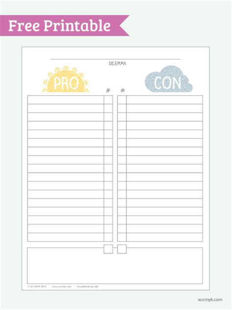 pro con list template pro vs con free printable pdf print it fonts