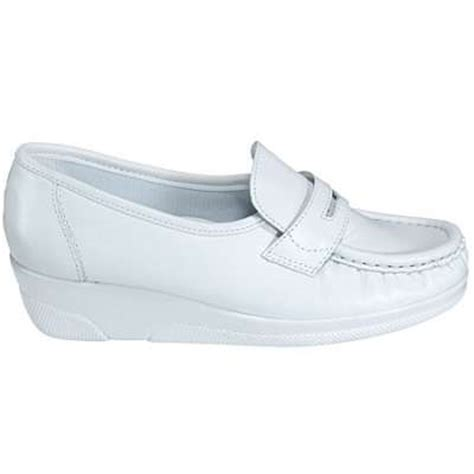 white nursing sneakers mates shoes pennie white moccasins 103814