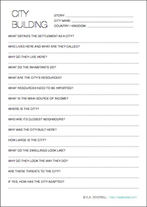 worldbuilding worksheet cities