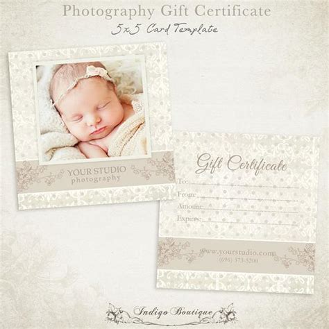 Photography Gift Certificate Photoshop Template By Indigoboutique Photography Gift Certificate Template