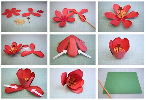 How To Make A 3d Flower Out Of Construction Paper - bits of paper 3d tulip paper flower