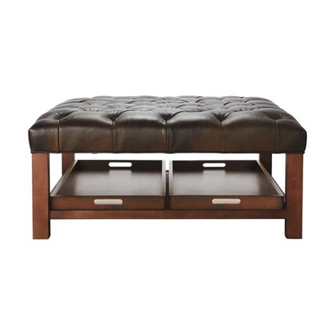 brown leather square tufted ottoman coffee table with wooden legs and custom tray storage ideas