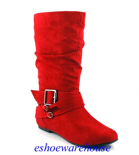 faux suede cutie slouch mid calf buckle