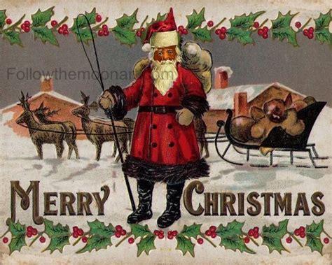 details  merry christmas vintage black african american santa claus holiday art print
