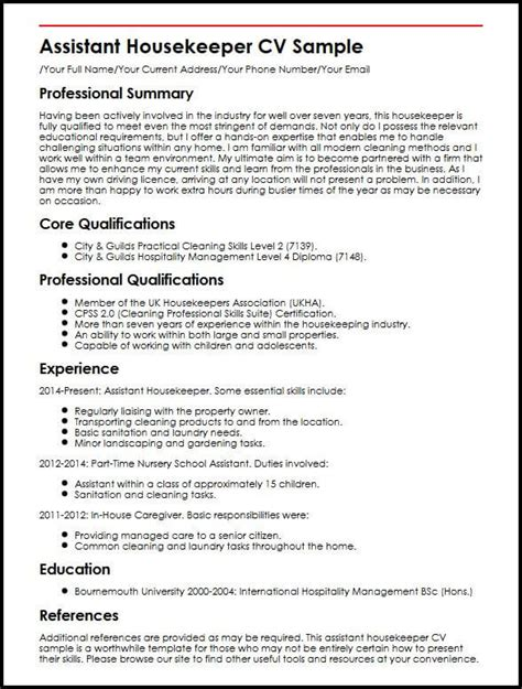 administrative assistant curriculum vitae sle housekeeping manager resume sle 28 images 28 assistant