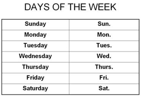 Calendar Abbreviation Search Results For Days Of The Week Worksheets