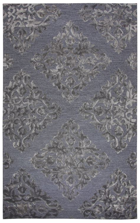 3 area rug harbor embossed damask wool area rug in slate silver 2 x 3