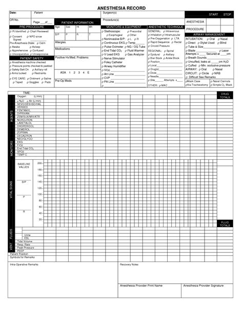 Anesthesia Record Form Template Image Collections Template Design Ideas Anesthesia Record Template Excel
