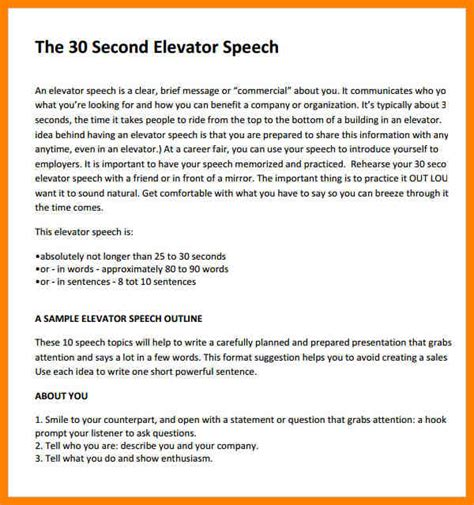 Speech Sles the speeches sles elevator speech template for