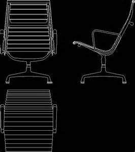 Desk Chair Dwg Charles Eames Aluminium Chair Zip In Autocad Drawing