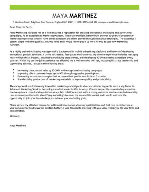 Cover Letters Marketing by Marketing Manager Cover Letter Exles For Marketing Livecareer
