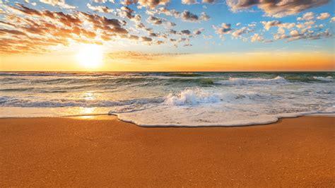 wallpaper beautiful sunset beach coast sea waves sand