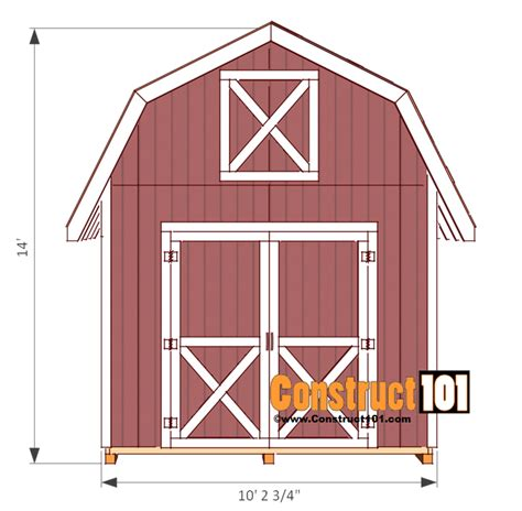 Free 10x12 Shed Plans Pdf by Shed Plans 10x12 Gambrel Shed Construct101