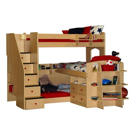 bunk bed with stirs and desk also shelves