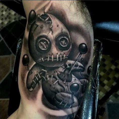 black voodoo tattoo black and white creepy voodoo doll on arm
