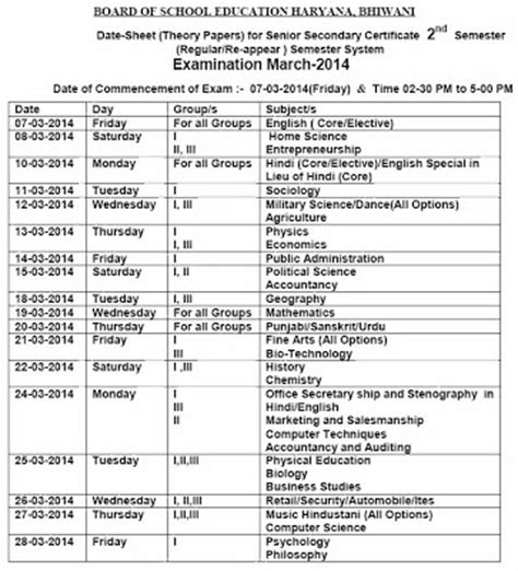 m p supplementary 12th result haryana 12th 1st 2nd semester time table 2014 ednewz