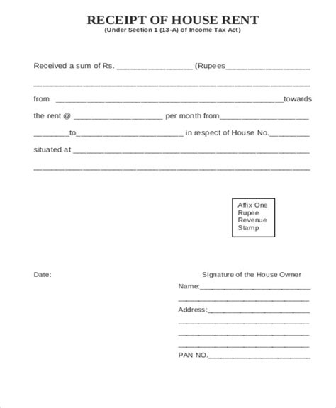 house rent receipt template 6 printable rent receipt sles sle templates