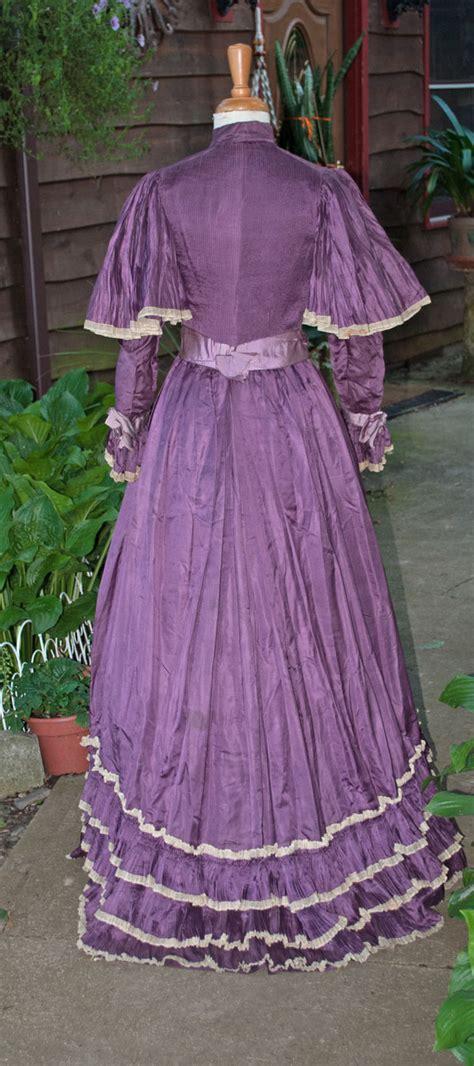 Dress Import 569 Purple antique dress purple silk trained bustle gown 1890 s museum de accessioned ebay