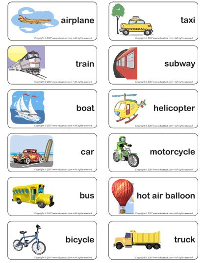 printable flashcards esl transportation word cards free google search prek