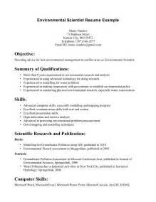 Environmental Science Resume Sample Free Resume Templates