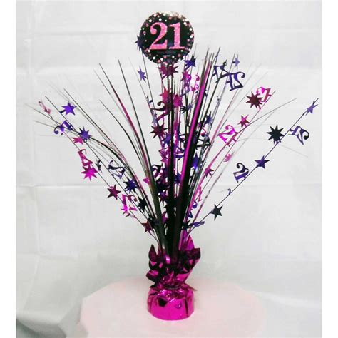 21st birthday centerpieces 21st birthday spray centrepiece table decoration black pink purple age 21