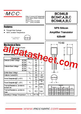 bc548 transistor data bc548 datasheet pdf micro commercial components