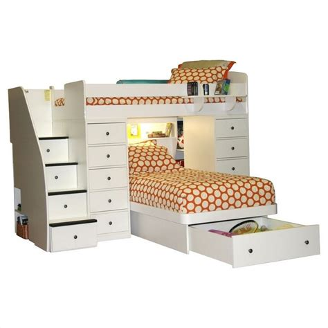 berg furniture sierra space saver twin over twin loft bed with storage 22 827 xx