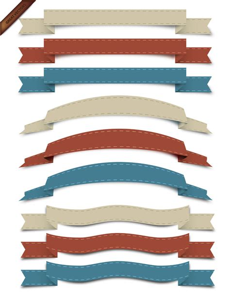 free ribbon vector banner set in ai eps cdr format vector retro ribbon set free vector site download free