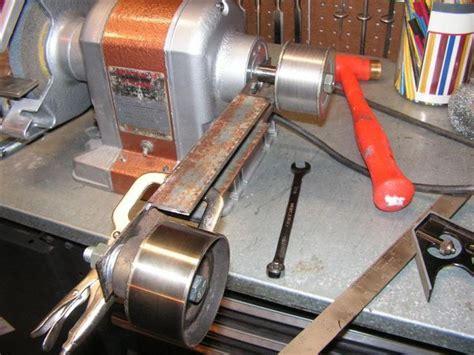 convert bench grinder to belt sander diy belt grinder attachment a home brew belt sander