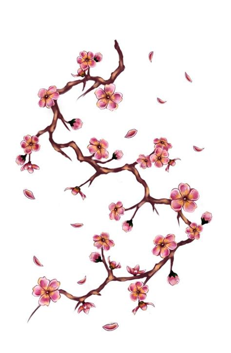 cherry tree branch tattoo by doloreslunasa on deviantart