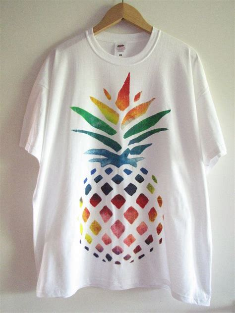 Painting T Shirts Ideas by Painted T Shirt With Rainbow Pineapple Design