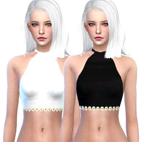 Crop Top Blouse Cc my sims 4 plain halter crop tops by littlebigshortie