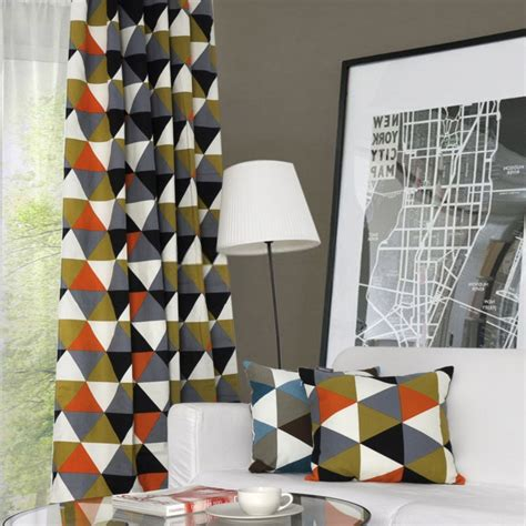 geometric print curtains modern geometric print curtains for blackout usage