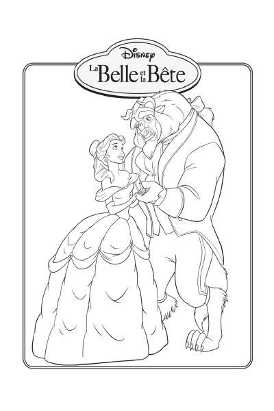Coloriage La Belle et la Bête avec Belle à imprimer sur
