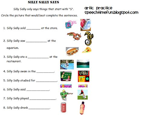S Articulation Worksheets by Ipod Touch And Iphone Template Silly Sally Articulation