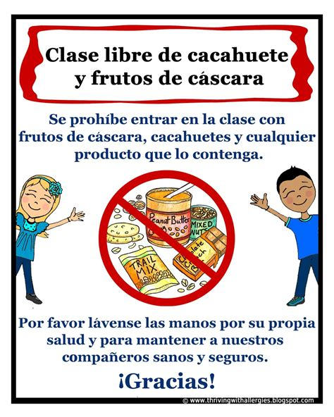 printable allergy poster thriving with allergies spanish peanut and tree nut free