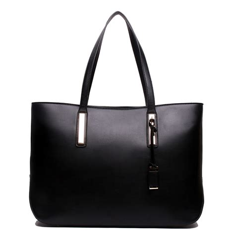 Pw Totebag Large Tas Totebag l1435 miss lulu leather look large shoulder tote bag black