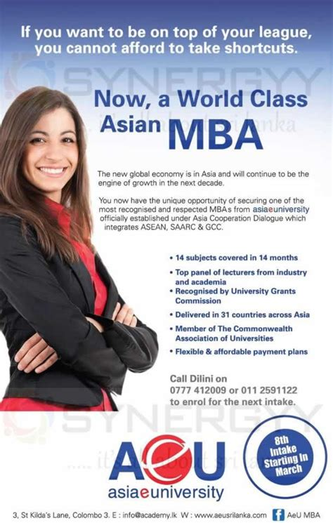 Mba Degree In Of Colombo by Aeu Mba Degree Programme In Srilanka April 2013 171 Synergyy