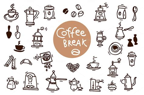 doodle coffee coffee sketch doodle icons illustrations on creative market