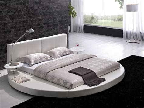 circle beds contemporary white leather headboard round bed queen