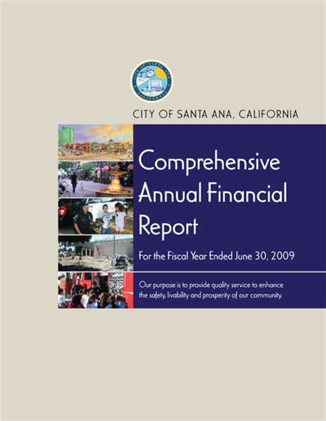 Gfoa Transmittal Letter 2009 Comprehensive Annual Financial Report Cafr City Of Santa