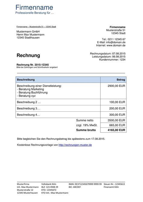 Musterrechnung Beratung Rechnungsvorlagen Kostenlos Rechnungsvorlage F 252 R Jeden Zweck