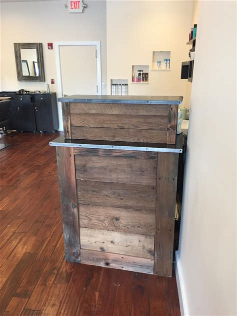 custom made reception desk handmade small barn wood salon reception desk by m karl