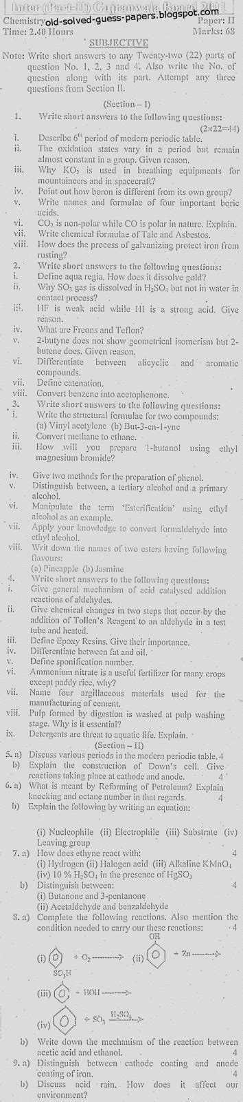 paper pattern gujranwala board f sc chemistry part two gujranwala board old solved and