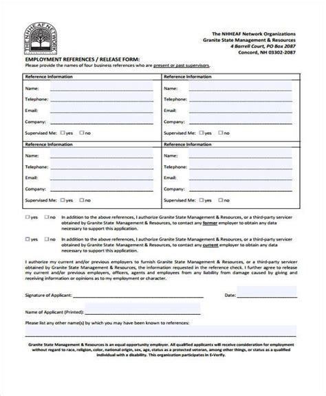 employment release form template employment form templates