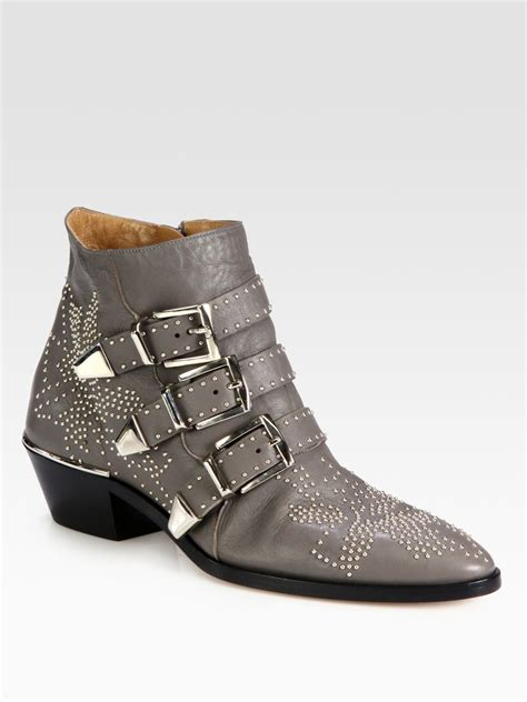 Grey Studded Chlo 233 Studded Leather Buckle Ankle Boots In Gray Grey Lyst
