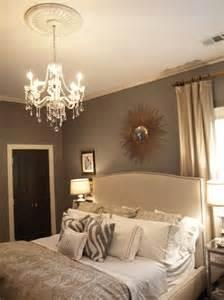 Maria Theresa Crystal Chandelier Gray Walls Contemporary Bedroom Ralph Lauren