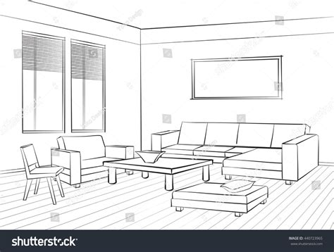 living room drawing home interior furniture sofa armchair table stock vector