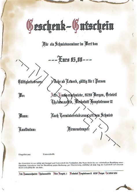 Vorlage Word Mittelalter Gutscheine Schenken Schmiedekurs Schmiedekurse Damastmesser Und Mehr