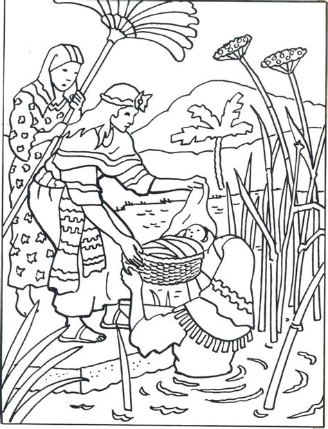 baby moses coloring page baby moses in basket coloring page 1943996